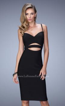 Picture of: Bold Jersey Dress with Cut Outs and a Back Slit in Black, Style: 22045, Main Picture