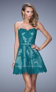 Picture of: Lace Sweetheart Neck Dress with Belt and Lace Overlay, Style: 22046, Main Picture