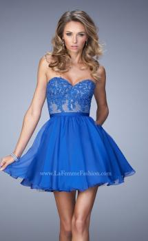 Picture of: Embroidered Lace Cocktail Dress with Belt and Pockets in Blue, Style: 22049, Main Picture