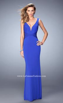 Picture of: V Neckline Jersey Gown with Open Deep V Back in Blue, Style: 22060, Main Picture