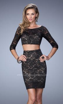 Picture of: 3/4 Sleeve Two Piece Long Prom Dress in Black, Style: 22061, Main Picture