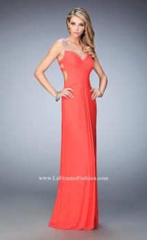 Picture of: Crystal Gem Embellished Prom Gown with Gathering in Orange, Style: 22068, Main Picture