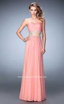 Picture of: Two Piece Chiffon Gown with Sweetheart Neck and Stones in Orange, Style: 22069, Main Picture