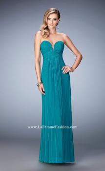 Picture of: Long Prom Dress with Rhinestones and Open Back in Green, Style: 22070, Main Picture