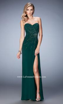 Picture of: Long Prom Dress with Side Slit and Modest Train in Green, Style: 22071, Main Picture