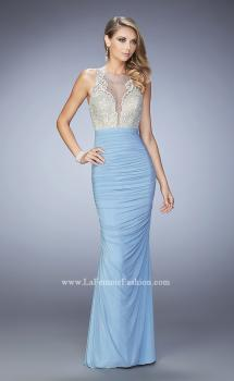 Picture of: Ruched Skirt and Sheer Neck Prom Gown with Rhinestones in Blue, Style: 22073, Main Picture