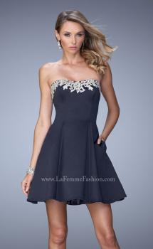 Picture of: Satin Short Dress with Lace Trim Neckline and Pockets, Style: 22101, Main Picture