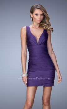 Picture of: Ruched Satin Dress with Open Back and Crossed Straps in Purple, Style: 22102, Main Picture