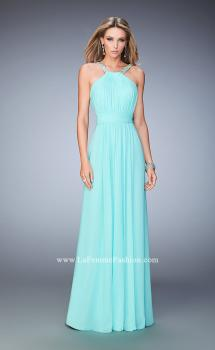 Picture of: Long Prom Dress with Gathered Bodice, Waist, and Skirt in Blue, Style: 22107, Main Picture