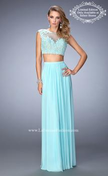 Picture of: Two Piece Jersey Gown with Sheer Back and Appliques in Blue, Style: 22110, Main Picture