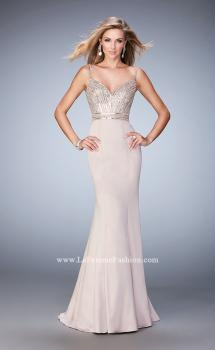 Picture of: Stretch Satin Gown with Train and Crystal Embellishments, Style: 22131, Main Picture