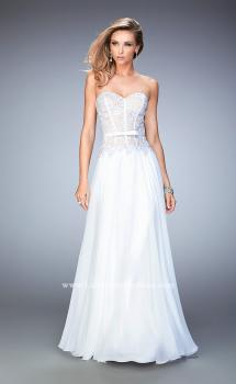 Picture of: Long Chiffon Gown with Rhinestone Lace and a Bow in White, Style: 22133, Main Picture