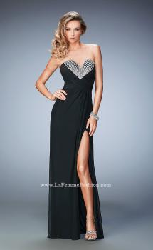 Picture of: Net Prom Gown with Embellishments and Side Leg Slit in Black, Style: 22136, Main Picture