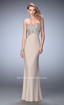Picture of: Jersey Prom Dress with Sequins and Cut Outs in Nude, Style: 22150, Main Picture