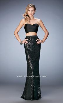 Picture of: Glam Two Piece Gown with Sequin Skirt and Satin Bodice, Style: 22151, Main Picture