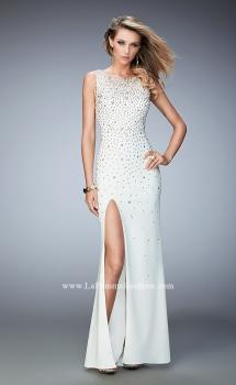 Picture of: Gold Metallic Embellished Jersey Prom Dress with Slit, Style: 22152, Main Picture