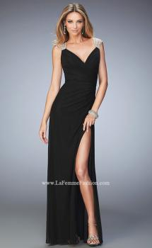 Picture of: Long Prom Dress with Panel Detail and a Side Leg Slit, Style: 22158, Main Picture