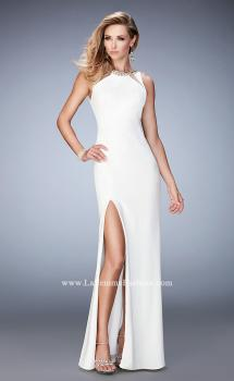 Picture of: Prom Dress with Neckline Cut Outs, Crystals, and Slit in White, Style: 22174, Main Picture