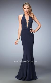 Picture of: Fit and Flare Prom Dress with Scalloped Halter Neckline, Style: 22175, Main Picture