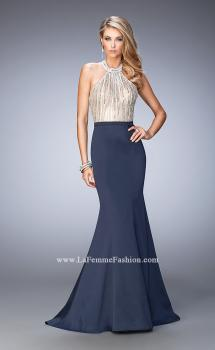 Picture of: Mermaid Prom Gown with Crystal Halter Bodice and Train in Blue, Style: 22177, Main Picture