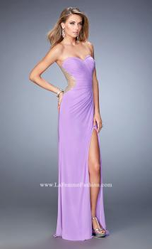 Picture of: Long Prom Dress with Ruching, Slit, and a Slight Train, Style: 22190, Main Picture