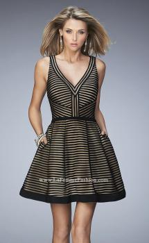 Picture of: Striped Short Dress with V Neckline, Style: 22193, Main Picture