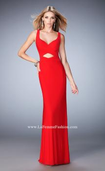 Picture of: Net Prom Gown with Cut Outs, Gathering, and a Train in Red, Style: 22200, Main Picture