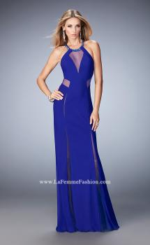 Picture of: Long Prom Dress with Sheer Panel Detail and Crystal Beads in Blue, Style: 22202, Main Picture