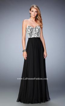 Picture of: Elegant Chiffon Prom Dress with White Lace Bodice, Style: 22204, Main Picture