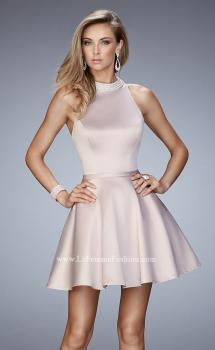 Picture of: Short Stretch Satin Dress with Pearl and Diamond Neckline, Style: 22212, Main Picture