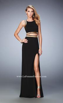 Picture of: Long Prom Dress with Gold Beaded Trim and Side Slit in Black, Style: 22227, Main Picture