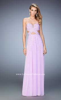 Picture of: Long Prom Dress with Embellishments and Cut Outs in Purple, Style: 22230, Main Picture