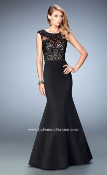 Picture of: Mermaid Satin Prom Gown with Illusion Neckline in Black, Style: 22231, Main Picture