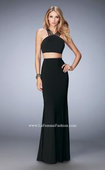 Picture of: Two Piece Jersey Gown with Strappy Neck and Back in Black, Style: 22236, Main Picture