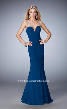 Picture of: Long Jersey Mermaid Gown with Sheer Straps and Stones in Blue, Style: 22237, Main Picture