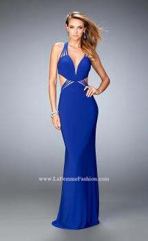 Picture of: V Neckline Long Prom Dress with Side Cut Outs in Blue, Style: 22240, Main Picture