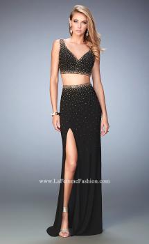 Picture of: V Neckline Two Piece Jersey Dress with Studs and Slit, Style: 22249, Main Picture