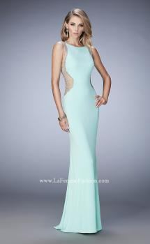 Picture of: Metallic Floral Embellished Long Jersey Prom Dress in Blue, Style: 22257, Main Picture
