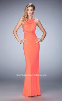Picture of: Geo Cut Jersey Prom Dress with Sheer Racer Back in Orange, Style: 22259, Main Picture