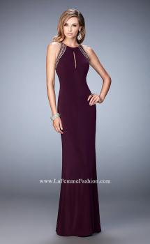 Picture of: Long Jersey Gown with Keyhole Slit and Embellishments, Style: 22264, Main Picture