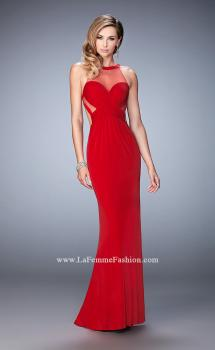 Picture of: Long Racer Back Prom Dress with Illusion Neckline in Red, Style: 22265, Main Picture