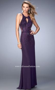 Picture of: Net Prom Gown with Open Back and Rhinestones, Style: 22266, Main Picture