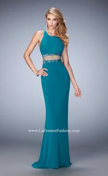 Picture of: Faux Two Piece Gown with Sheer Paneled Back and Beads in Blue, Style: 22272, Main Picture