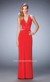Picture of: Glam Geometric Cut Out Prom Dress with Open Back in Red, Style: 22276, Main Picture