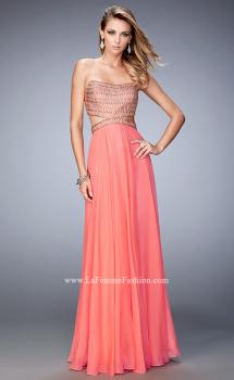 Picture of: Chiffon Prom Dress with Cut Outs and Gold Stud Detail in Orange, Style: 22285, Main Picture