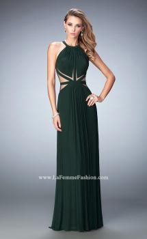 Picture of: Net Prom Gown with Sheer Cutout Detail and Gathering in Green, Style: 22286, Main Picture