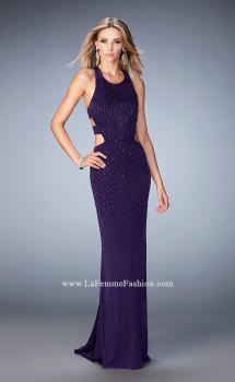 Picture of: Jersey Prom Dress with Strappy Back, Cut Outs, and Train, Style: 22287, Main Picture