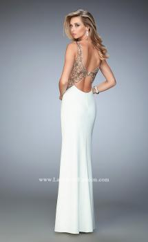 Picture of: V Neckline Jersey Prom Gown with Stone Flower Design in White, Style: 22290, Main Picture