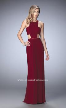 Picture of: Embellished Long Prom Gown with Open Sides in Red, Style: 22292, Main Picture
