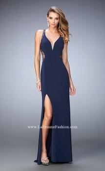 Picture of: Glam V Neckline Prom Dress with Sheer Detail and Beads in Blue, Style: 22296, Main Picture